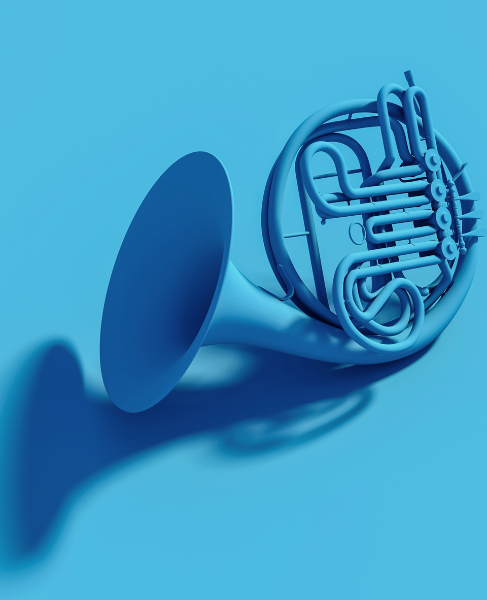 classic blue orchestra horn on flat lay flat bottom. 3d image. Music and entertainment concept.